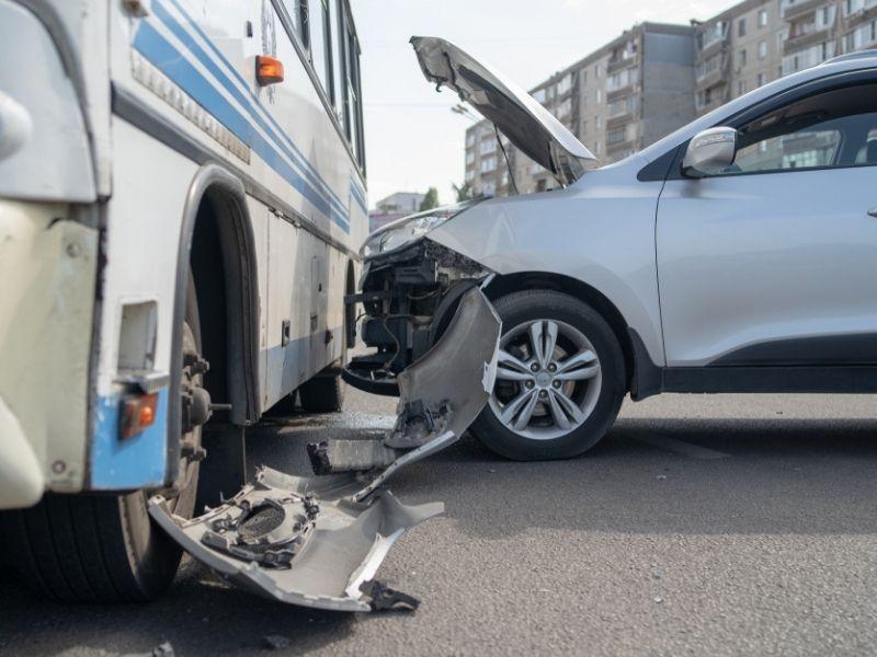 bus and car crash